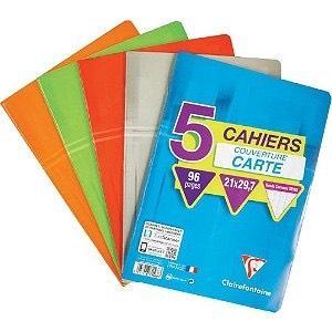 Lots de 5 cahiers Clairefontaine - 96 pages, 17*22cm, Grands Carreaux (via 0.70€ sur la carte)