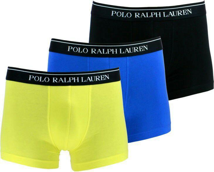 Lot de 3 boxers bleus et jaune en coton stretch Polo Ralph Lauren