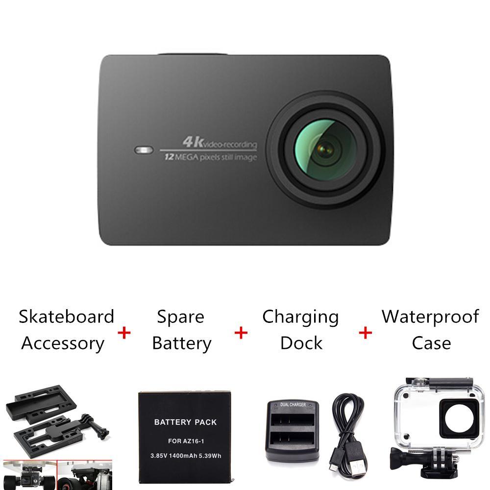 Caméra Xiaomi Yi 4K Noire - Version Internationale + 4 Accessoires (Boitier étanche, chargeur, batterie, support skate)