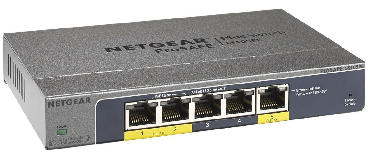 Switch Gigabit 5 ports Web Manageable Netgear Prosafe GS105PE-10000S