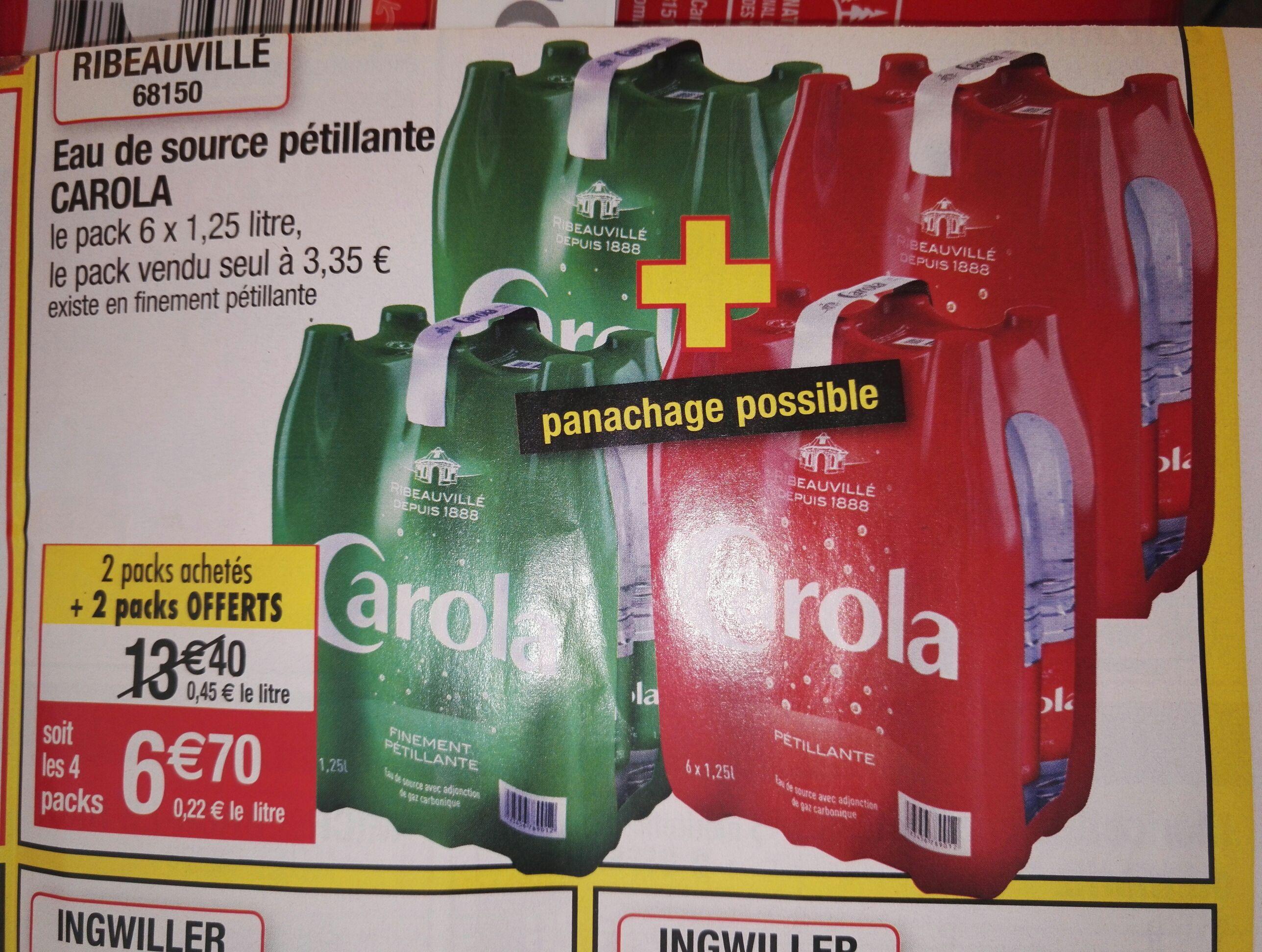 4 packs d'eau de source pétillante Carola (6 x 1.25L)