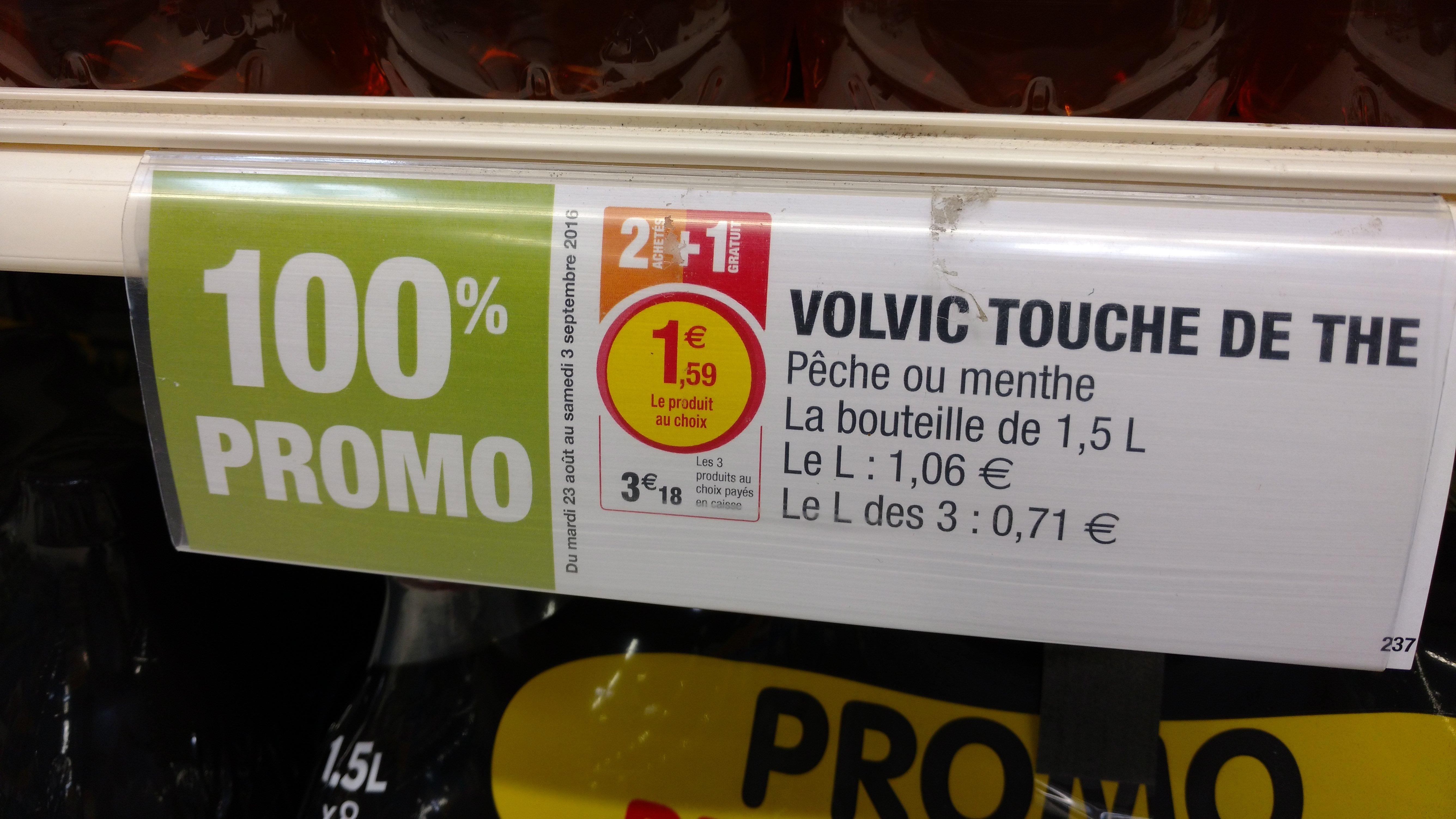 3 bouteilles de Volvic Touche de thé 1.5L - Menthe ou Pêche (via ODR de 1.59€)
