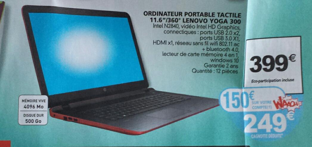 "PC Portable 11.6"" Lenovo Yoga 300 - Intel N2840, RAM 4 Go, HDD 500 Go (via 150€ sur la carte)"