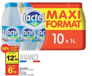 Lot de 2 Packs Maxi-format de Lait Lactel - 20 x 1L