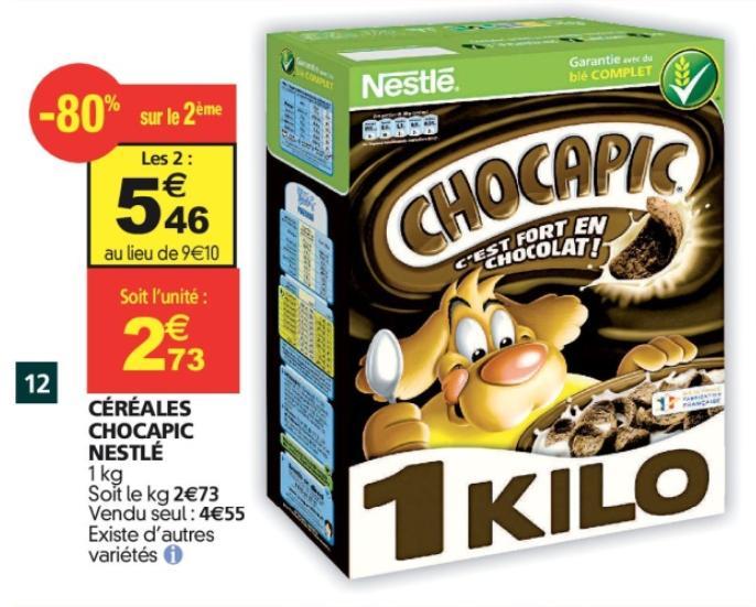 Lot de 2 Paquets de Céréales Nestlé Chocapic - 2kg