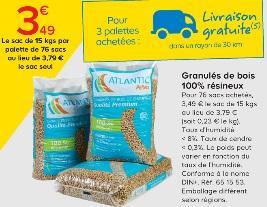 Lot de 76 Sacs de 15 Kg (3.49€ le sac) (230€ la tonne) de Granulés de bois 100% résineux Qualité Premium
