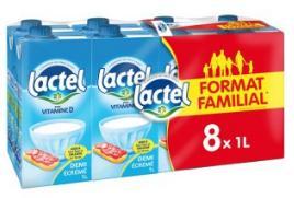 2 Packs de Lait Lactel demi-écrémé (8 x 1L)
