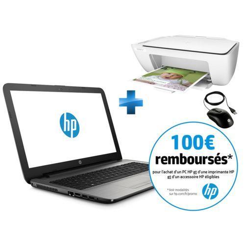 """PC portable 15""""  HP 15-AY047NF (HD, i5-6200U, 4 Go RAM, 128 Go SSD, Windows 10) + Souris optique filaire X900 + Imprimante tout-en-un DeskJet 2130 (via ODR 100€)"""
