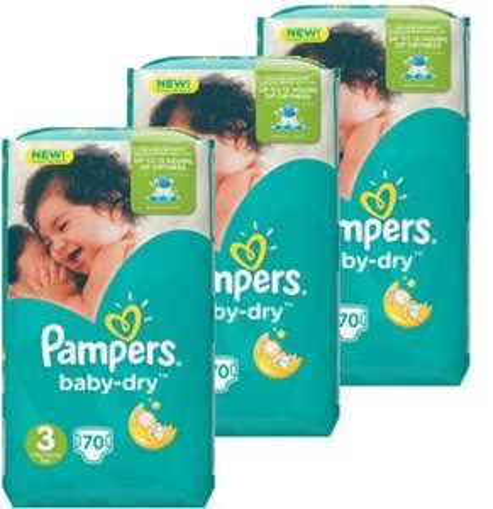 Lot de 3 packs de 70 couches Pampers Baby Dry (Plusieurs tailles)