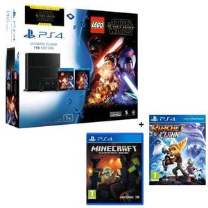 Sélection de PS4 en Promotion. Ex : Pack Console PS4 1 To Noire + Lego Star Wars + Ratchet and Clank + Minecraft + le film Star Wars VII