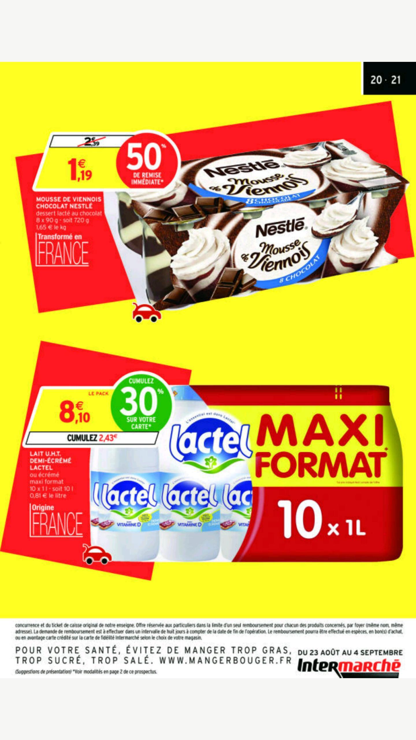 Pack de Bouteilles de Lait U.H.T Demi-écrémé Lactel - 10 x 1L (Via carte de fidélité)