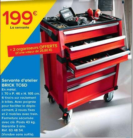 Servante d'atelier Brick TC6D (métal, 6 tiroirs + 2 organiseurs offerts)