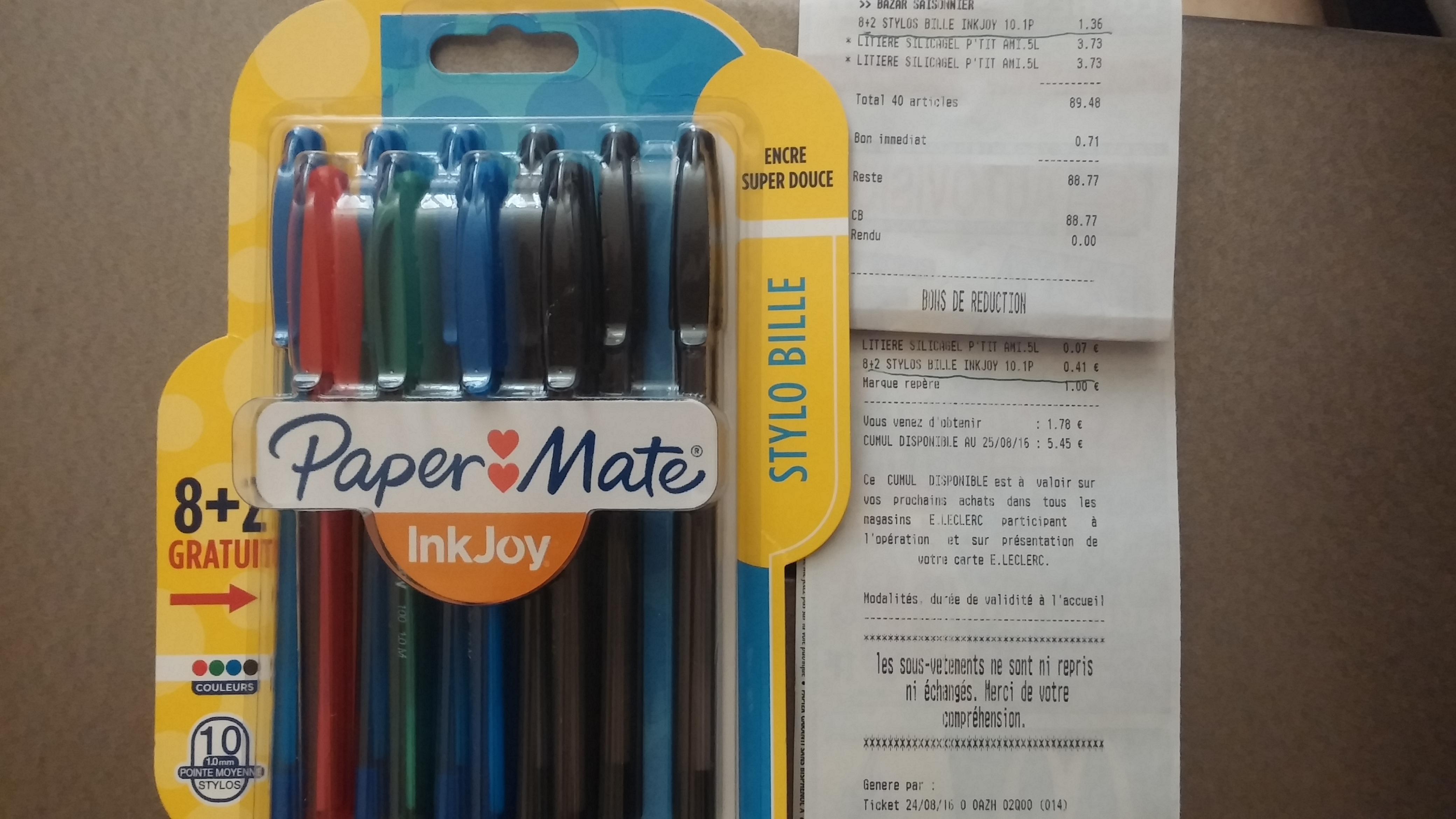 Lot de 10 stylo-billes Paper Mate Inkjoy (via 0.41€ sur la carte de fidélité)