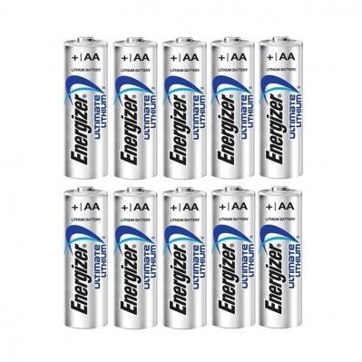 Pack de 10 piles AA lithium energizer