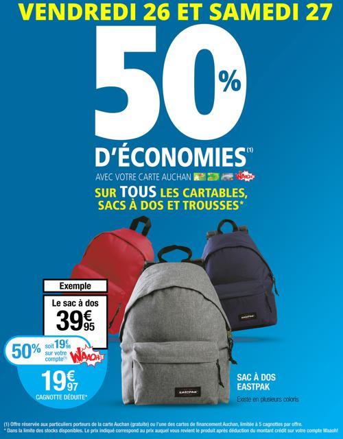 50% de réduction sur les Sac, cartables et trousses - Ex : Sac à dos Eastpak (via 19.98€sur la carte)