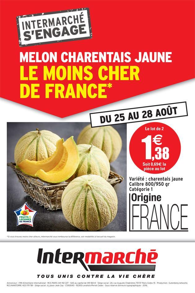 Lot de 2 melons charentais jaunes (Origine France)