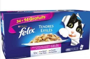 Lot de 48 sachets d'effilés en gelée au boeuf Félix pour chat