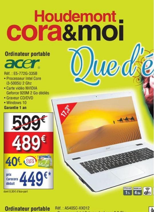 """Pc portable 17,3"""" HD+ Acer EG-772G-335B (i3-5005U, 4 Go RAM, 1 To HDD, GT 920M, Windows 10) avec 40€ sur la carte de fidélité"""