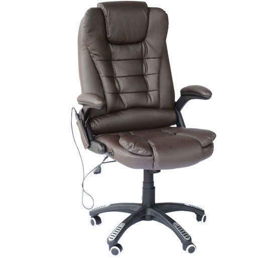 Fauteuil de bureau massant et chauffant Homcom A2-0056 - Marron + Jusqu'à 14.99€ en Super Points