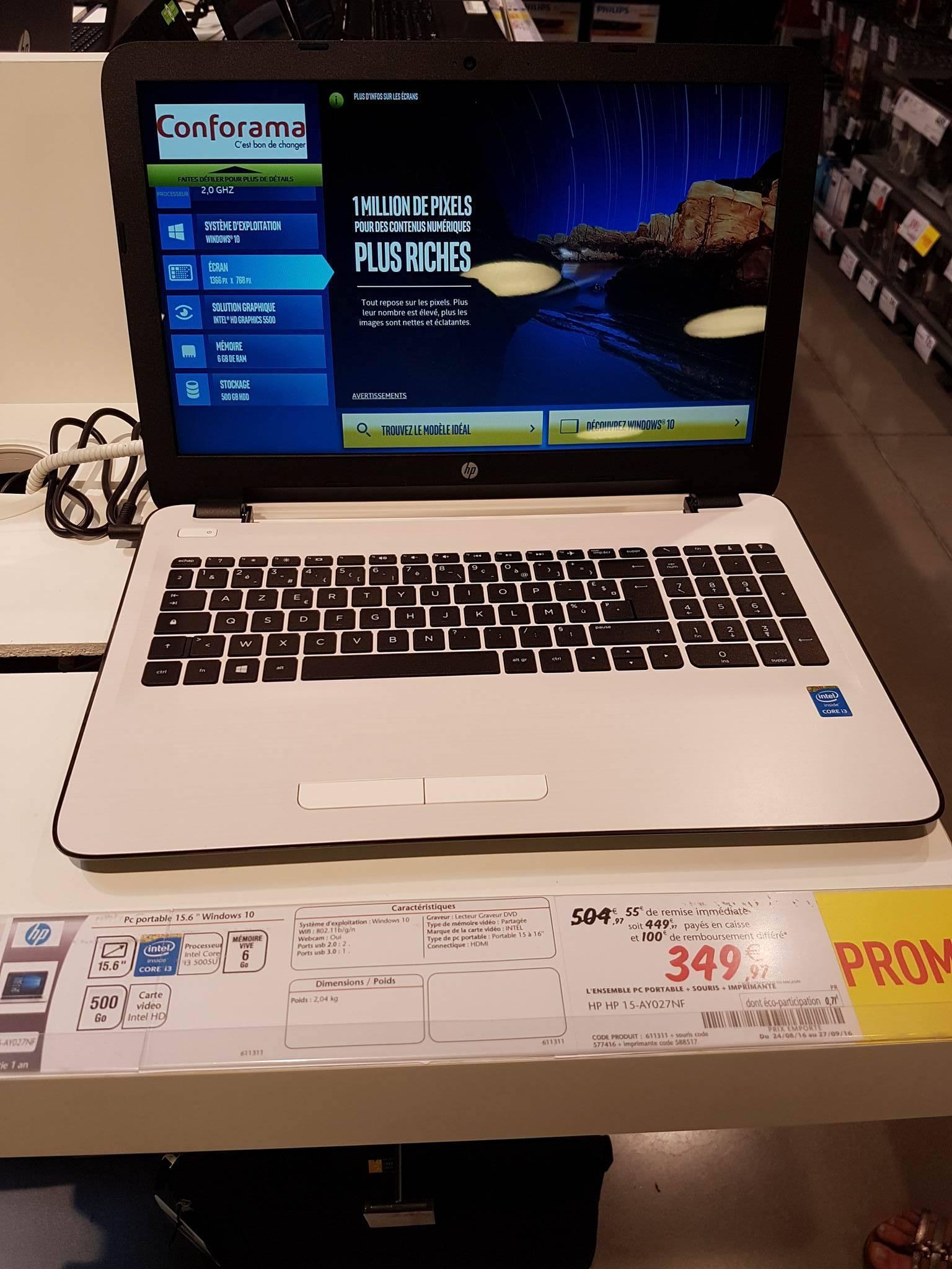 """Pack HP : PC Portable 15.6"""" 15-AY027NF + Imprimante multifonction Wifi Envy 5547 + Souris sans fil X3000 (via ODR de 100€)"""
