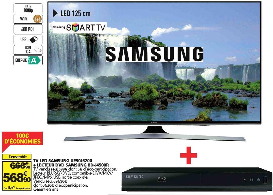 "Pack TV 50"" Samsung UE50J6200 - full HD, LED + lecteur Blu-ray Samsung BD-J4500R"