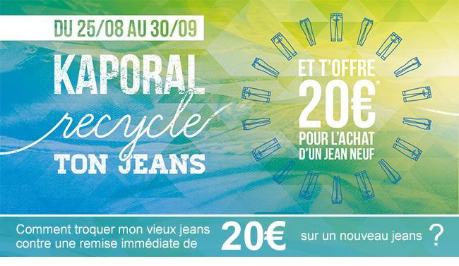 1 article en jeans rapporté en magasin = 20€ de réduction sur l'achat d'un jeans neuf