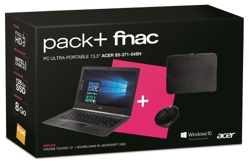 "[Offre adhérent] Pack PC portable 13.3"" full HD Acer S5-371-54SH (i5-6200U, 8 Go de RAM, 128 Go en SSD) + housse Tucano Second Skins + souris Microsoft 3500"