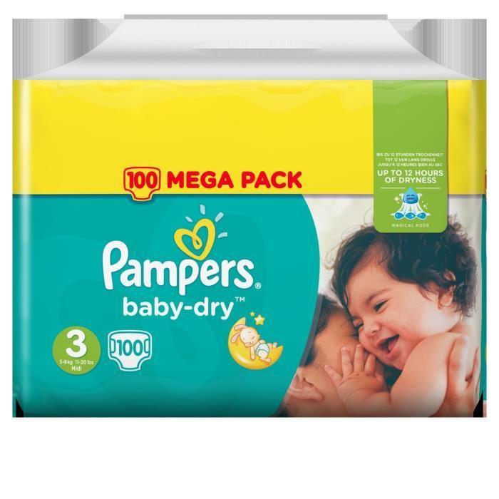 Sélection de couches Pampers Baby Dry en promotion (via 40% sur la carte de fidélité) - Ex : paquet de 100 couches (t. 3)