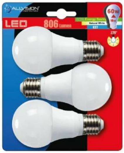 Lot de 3 Ampoules Led Allvision - E27, 806 lumens (via 3€ ticket leclerc)