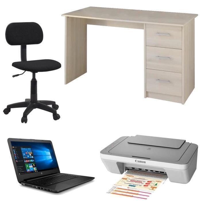 """Ensemble PC Portable 14"""" HP 14-ac120nf + Bureau + Chaise de bureau + Imprimante Canon MG2455"""