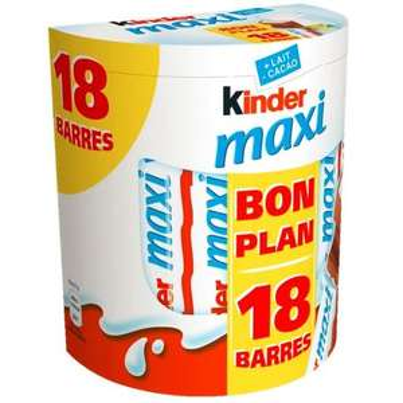 2 achetés = 1 gratuit sur une sélection de produits Kinder - Ex : Lot de 3 paquets de Kinder Maxi (x18)