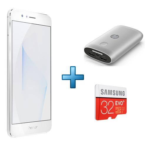 """Smartphone 5.2"""" Honor 8 (double-SIM, 4G, blanc) + microSD de 32 Go + batterie externe (7600 mAh)"""