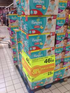 2 Packs de 76 couches Pampers Baby Dry Mega +