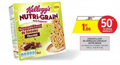 2 Boites de Croustillants de Céréales Nutri-Grain Kellogg's - 12 pièces (Via BDR)