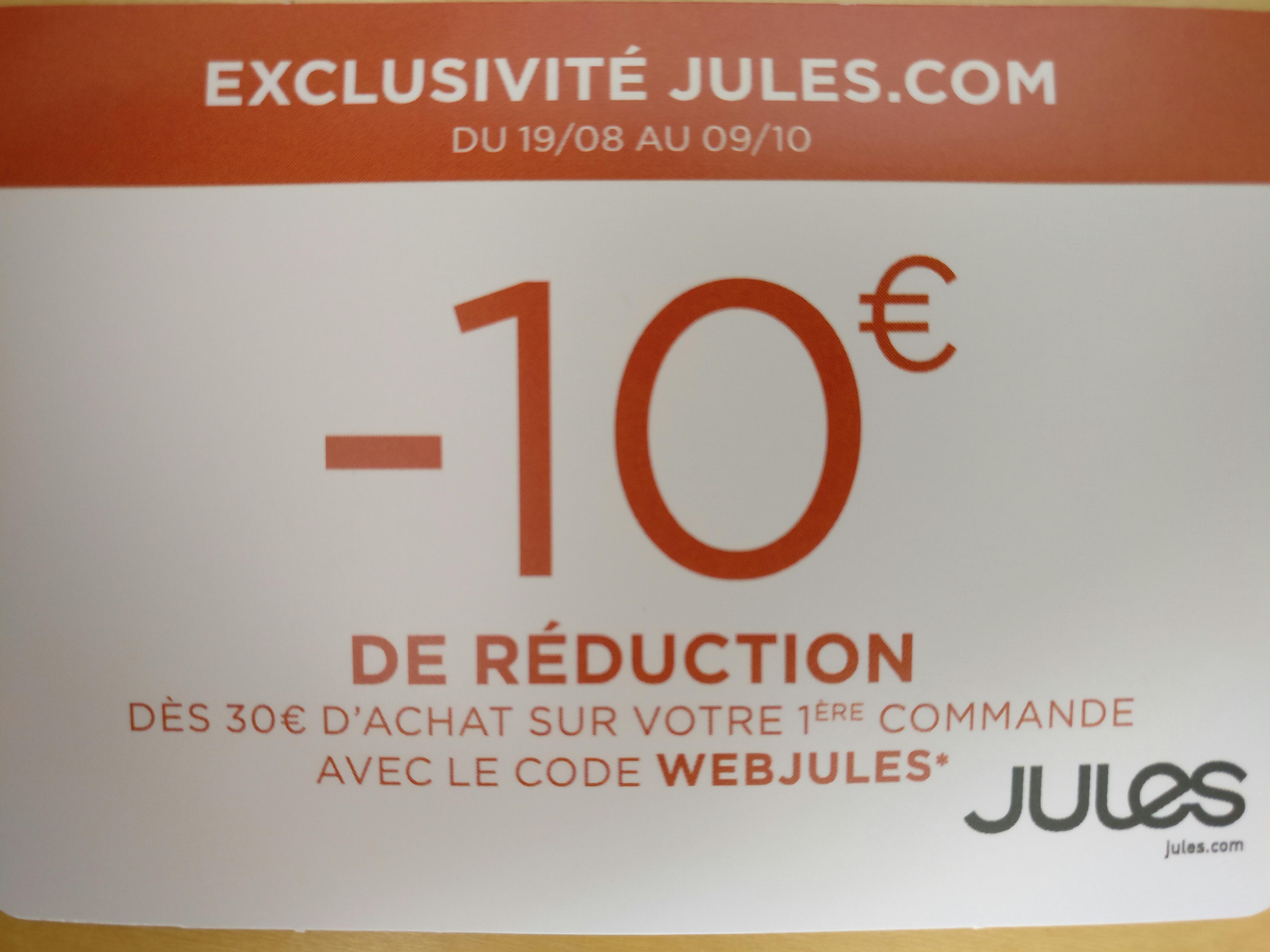 10 € de réduction dès 30€ d'achat sur votre première commande web