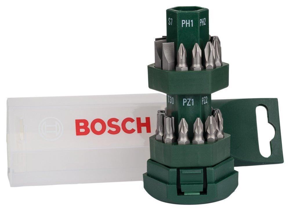 Tonnelet d'embouts de vissage courts Bosch - 24 pièces et 1 porte-embout
