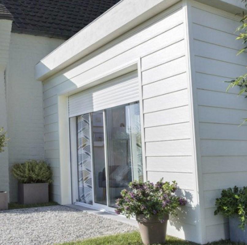 Baie vitrée coulissante + volet aluminium blanc, motorisation Somfy - 200x240cm