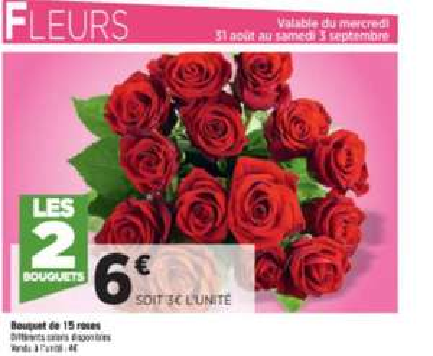 2 Bouquets de 15 roses (plusieurs coloris)