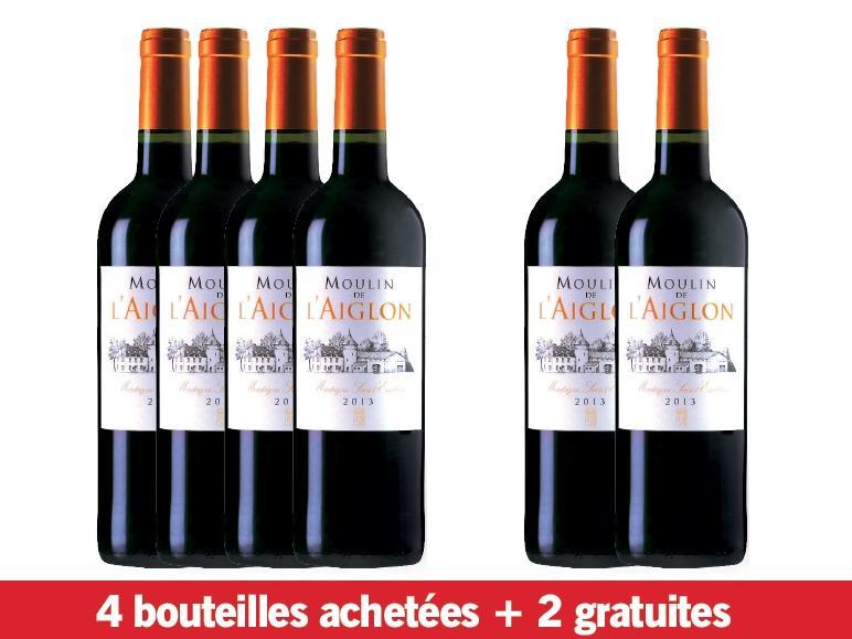 Lot de 6 bouteilles de vin rouge Montagne Saint-Emilion Moulin de l'Aiglon 2013 AOP1