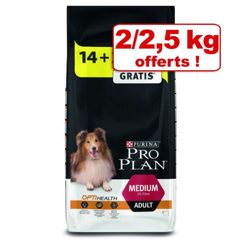 Sélection de croquettes pour chien Purina Pro Plan en promotion - Ex : Medium Adult (poulet / riz, 16.5 kg)