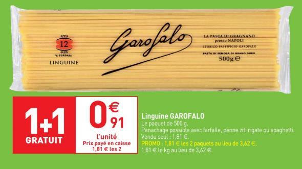 Lot de 2 paquets de pâtes Garofalo - différentes sortes (500 g)