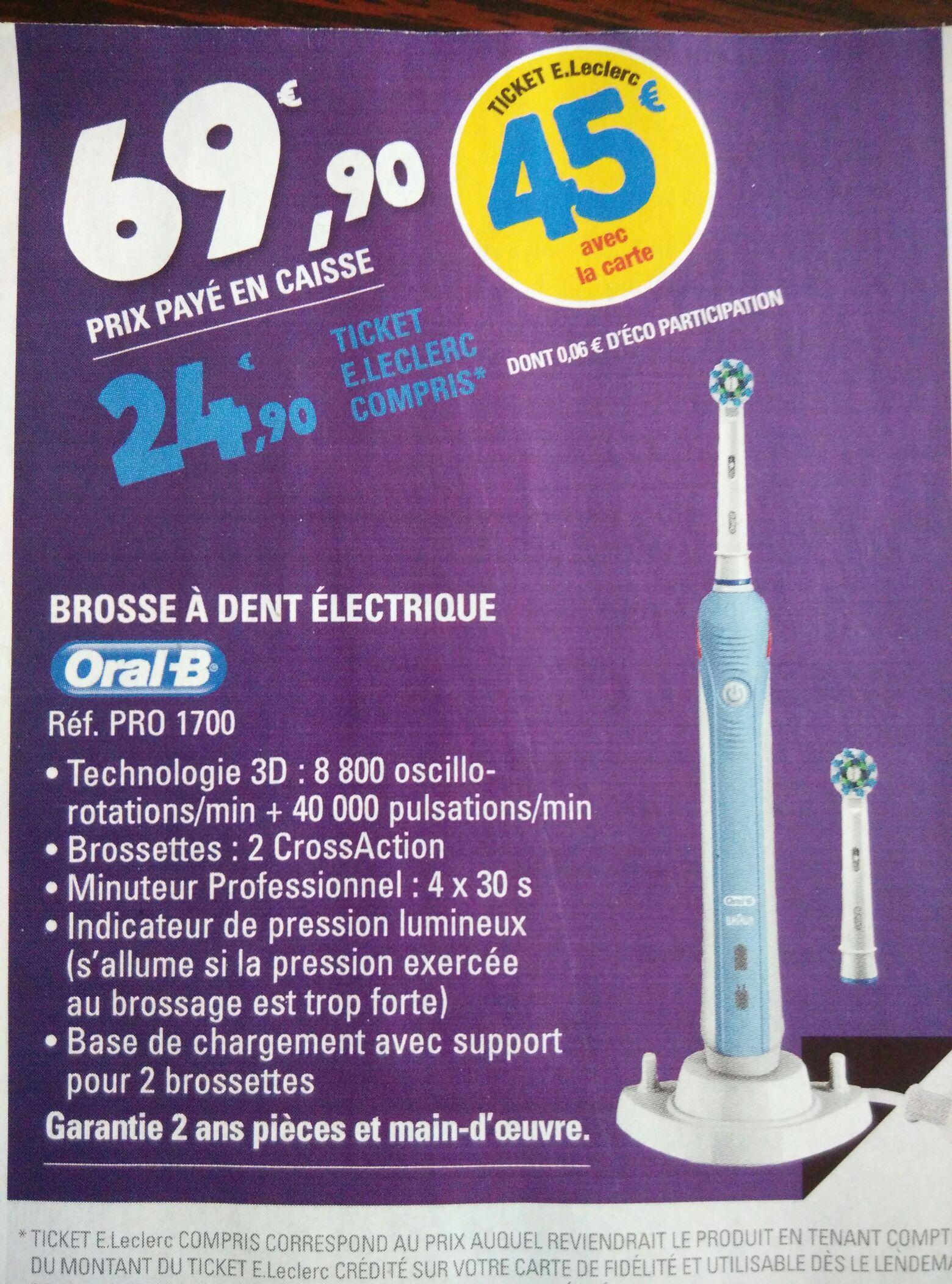 Brosse à dent électrique Oral B Pro 1700 (via 45€ sur la carte)