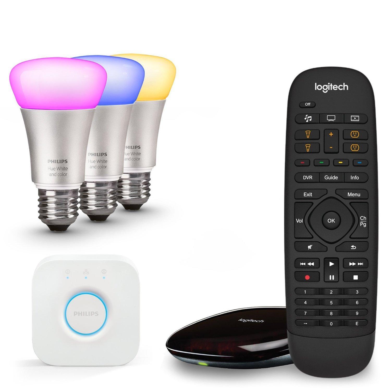 Kit Philips HUE - 3 ampoules White and Color E27 + pont de connexion + télécommande Logitech Harmony Companion