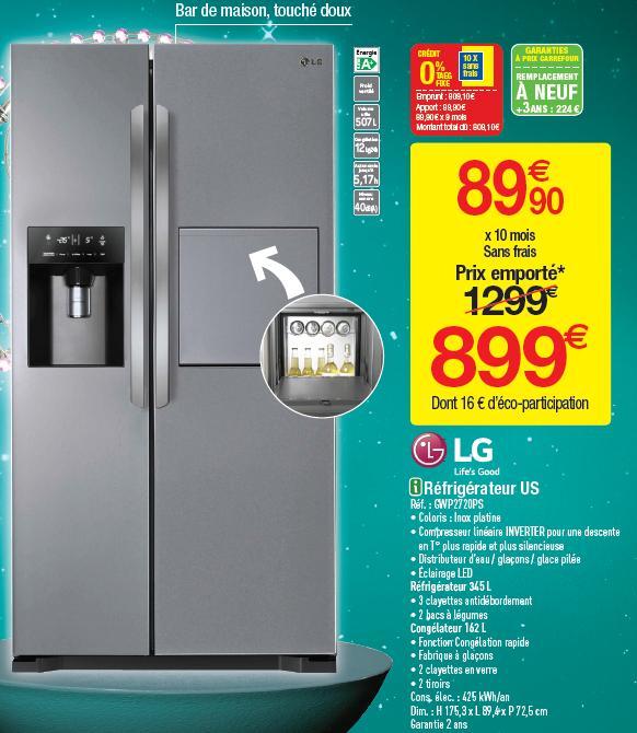 Réfrigérateur Américain LG GWP2720PS - 345L + 162L