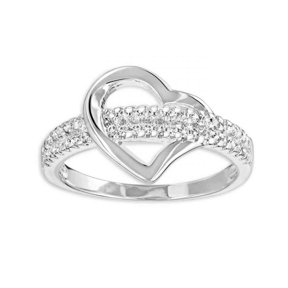 Bague Fashionvictime Coeur en Cubic Zirconium pour Femmes - Argent, Tailles : 54 ou 56