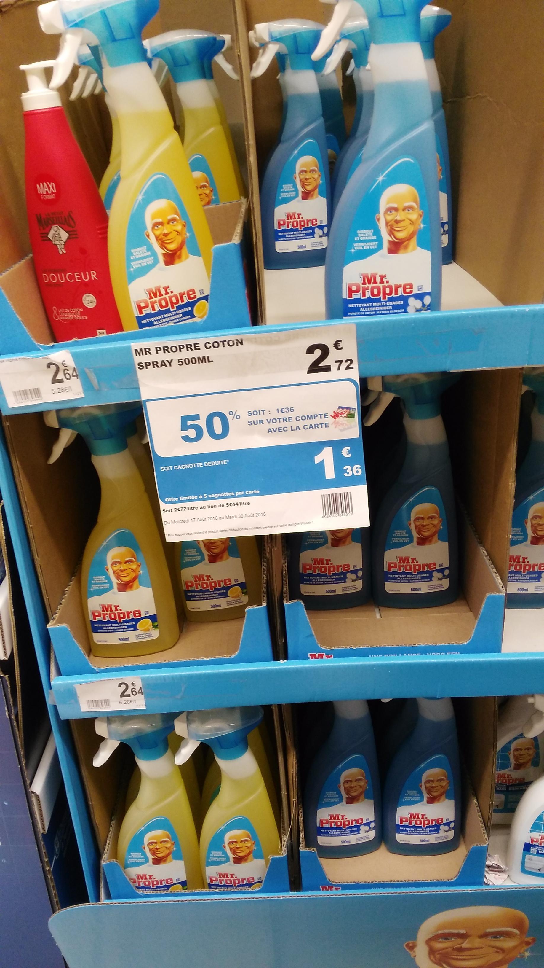Nettoyant en spray Mr. Propre Coton - 500 ml (via 1.36€ sur la carte de fidélité + BDR)