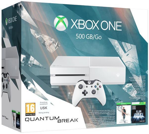 Console Microsoft Xbox One - 500Go, Blanche + Quantum Break + Alan Wake (dématérialisés)