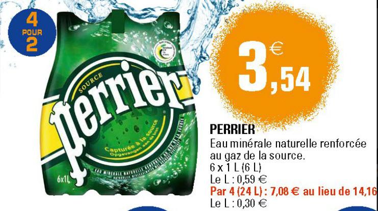 Nombreuses eaux gazeuzes 2+2 gratuit (Perrier, Badoit, San Pellegrino)
