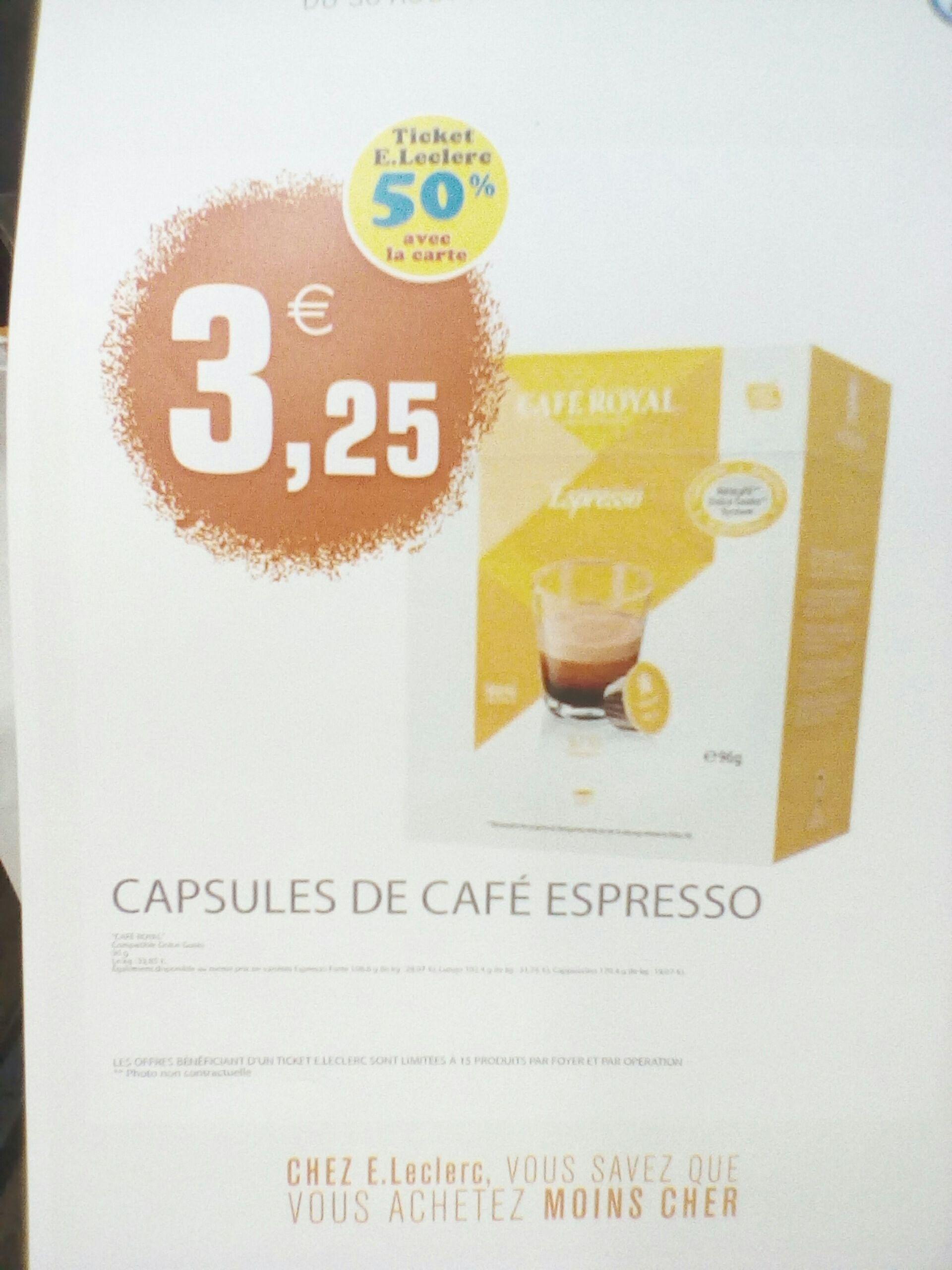 10 capsules de Café Royal compatible Dolce Gusto (via 1.62€ fidélité)