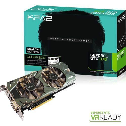 """Carte graphique KFA2 GeForce GTX 970 EXOC Black Edition 4 Go + Pack """"Game Ready"""" pour le jeu Paragon offert"""